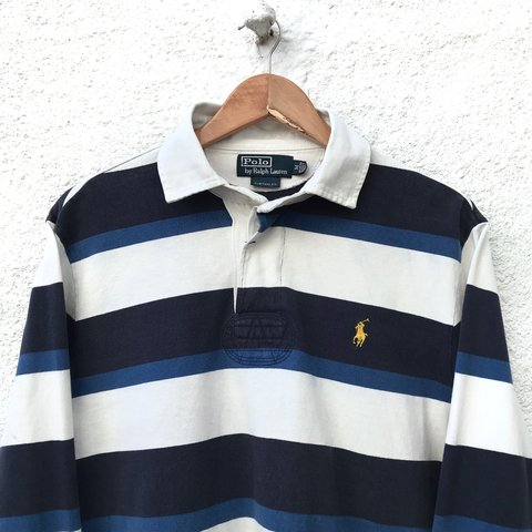 8860f20a4 @iconicgrade. 7 months ago. United Kingdom. Vintage 90s Ralph Lauren Rugby  Polo Shirt Men's size Medium • Navy blue and white stripes ...