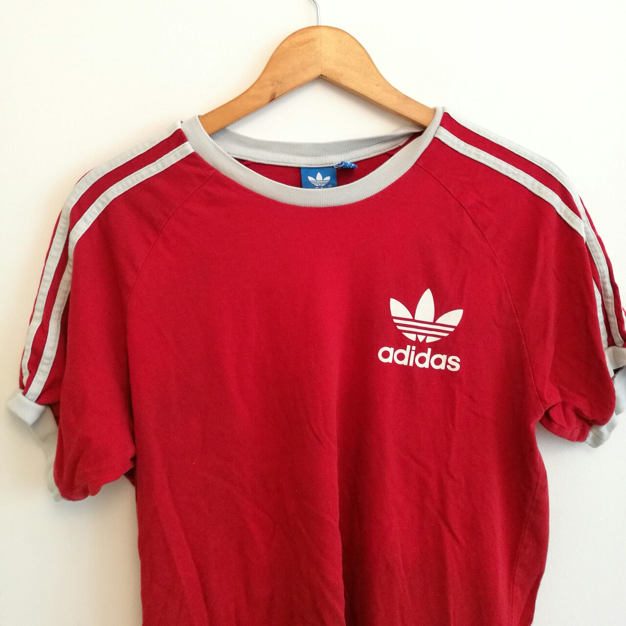 06f5c926b45fd pollybaker. Bristol, UK. Traditional retro Adidas Originals 3 Stripe Red T- shirt ...