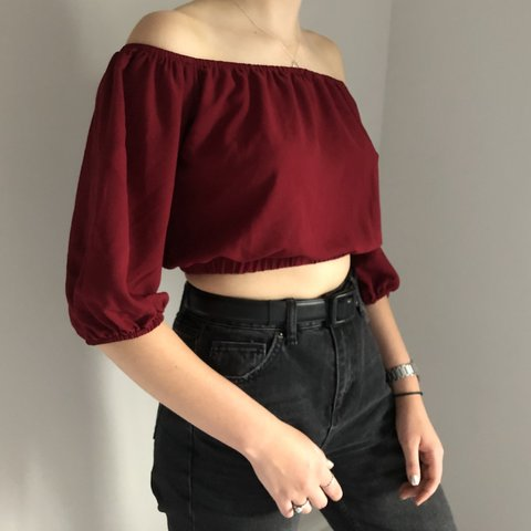 9a28899ce0ace4 BRAND NEW BURGUNDY BARDOT TOP size 10 12 perfect me for y2k - Depop