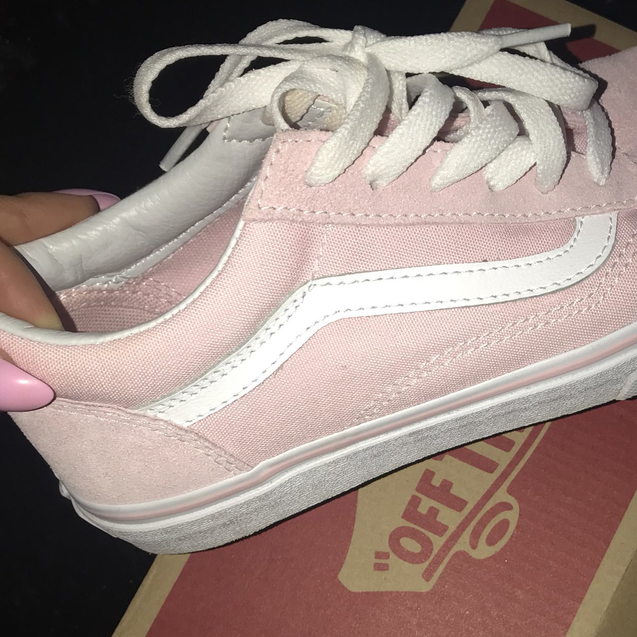 Brand new baby pink vans worn once for few hours size 4... - Depop aa1f42b5a