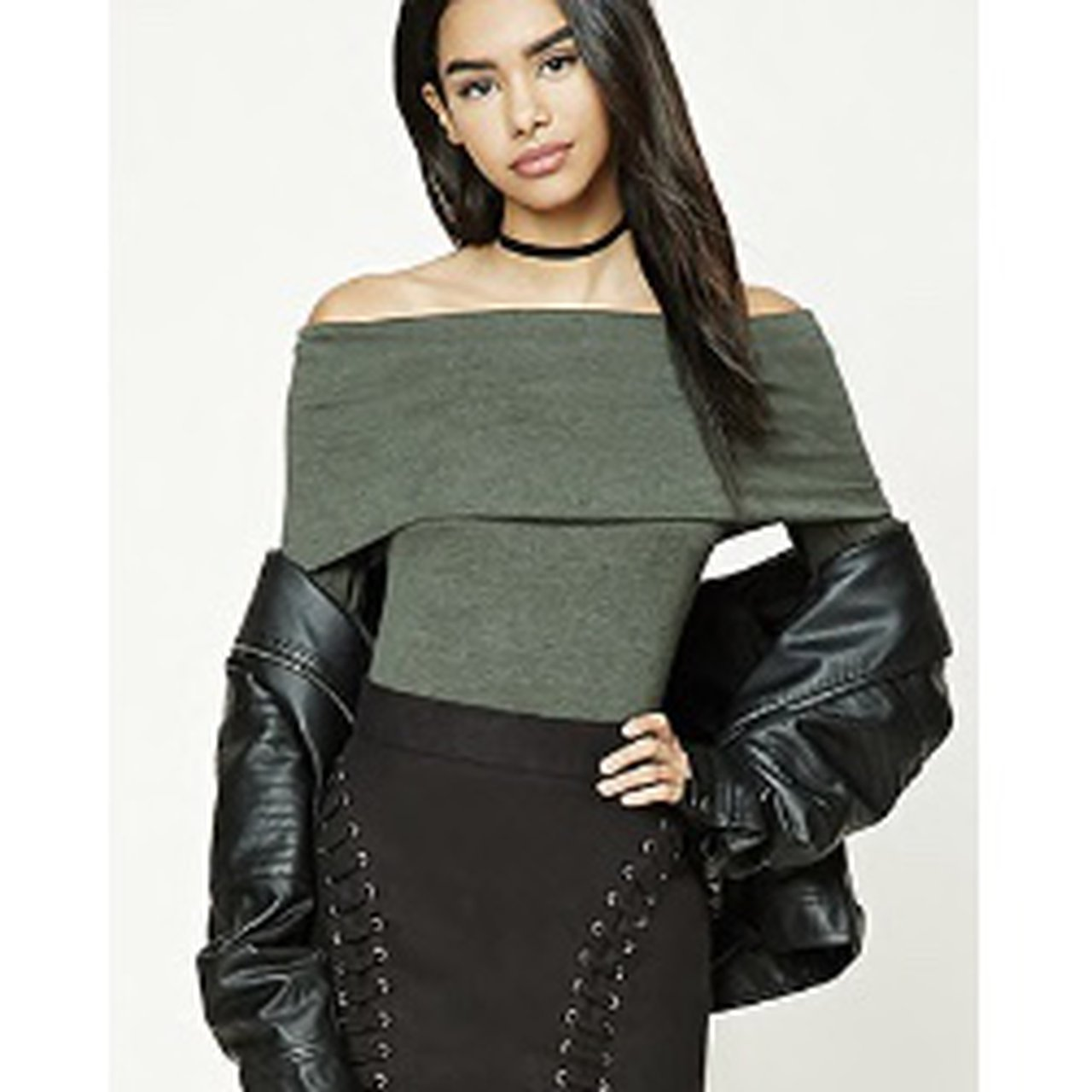 c9864684660721 Olive green off the shoulder top    looks exactly like first - Depop