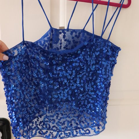 9cce1fc77af7e Blue sequin crop top from ASOS brand new with tags!! - Depop