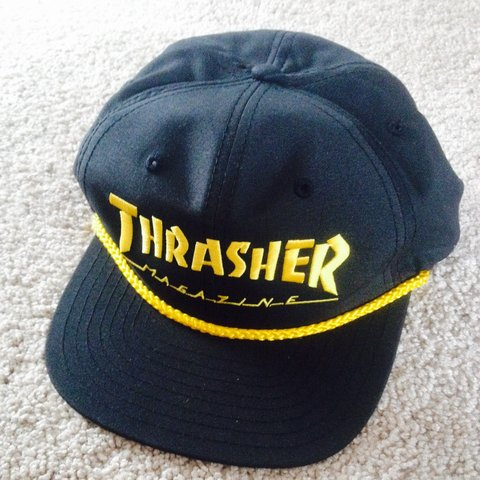 73993978 Thrasher hat yellow and black never worn #Thrasher #Supreme - Depop