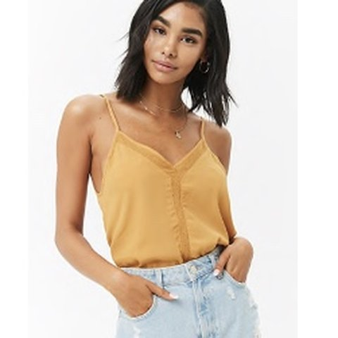 8fee03181d9e0 Yellow   mustard v neck loose tank top from forever 21  ))) - Depop