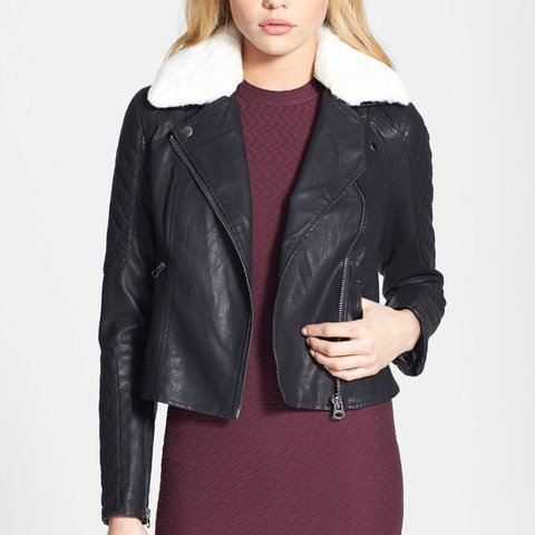 0be16d881f108 @kyliexo. 2 years ago. United Kingdom. Topshop black leather jacket with  white faux fur ...