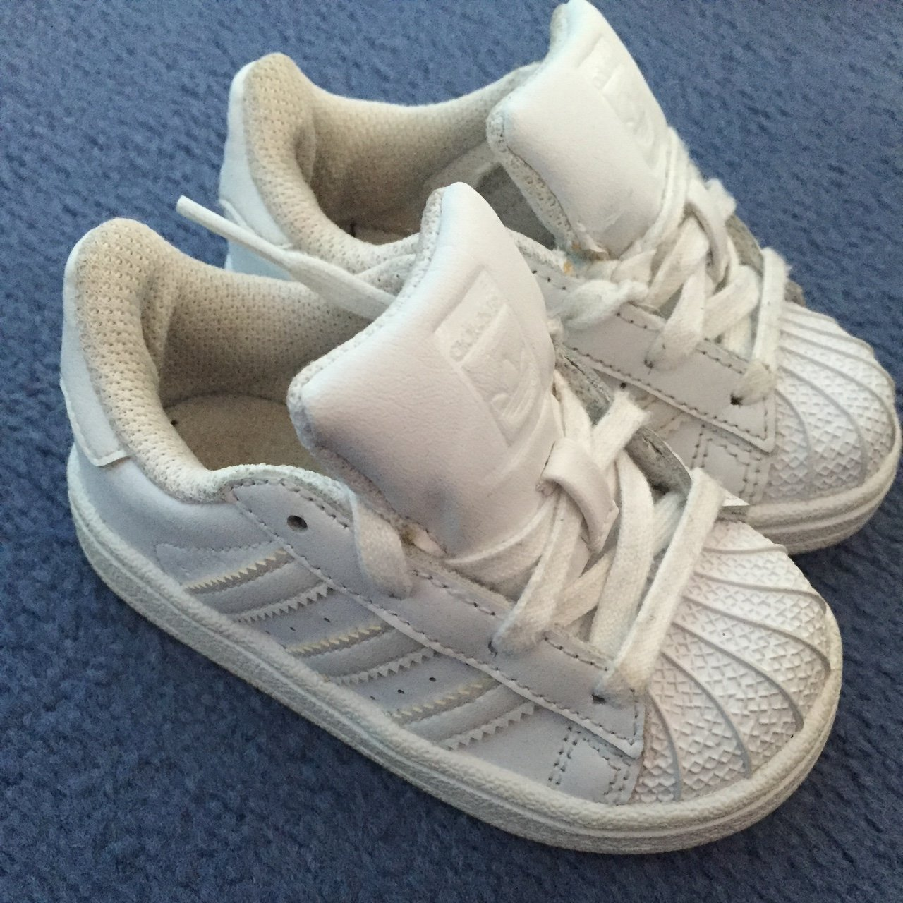 White infant adidas trainers size4 no box p p included in 4 - Depop e25762cf8