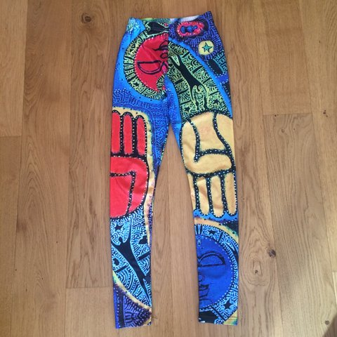 bb20948bf95aa3 🙀😵 wacky patterned colourful leggings 😵🙀 raves festivals - Depop