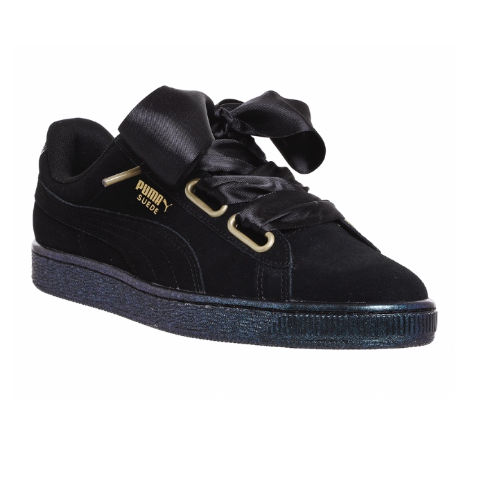 huge selection of f0d1e 46837 Black puma suede heart shoes with satin laces and... - Depop