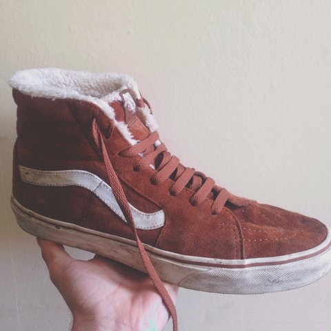 7f42b10709 Brown suede Vans Sk8-Hi with faux fur lining. Worn with a UK - Depop