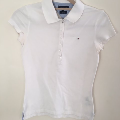 0852983d @lillyhttx. 22 days ago. Bangor, United Kingdom. Tommy Hilfiger white slim  fit polo top in XS!
