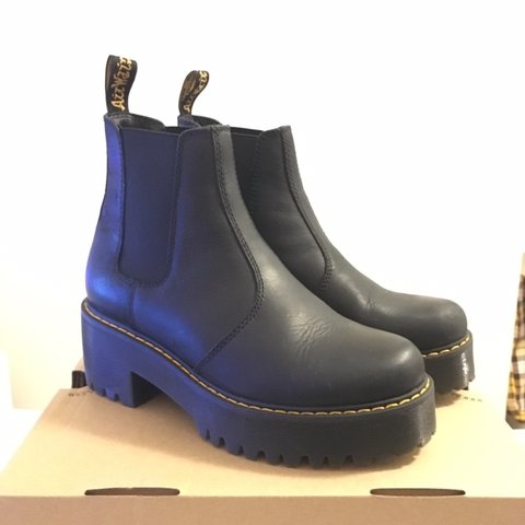 4bee6612633 @jen765912. 5 months ago. Leeds, United Kingdom. Dr martens Rometty black  leather chunky heeled Chelsea boots.