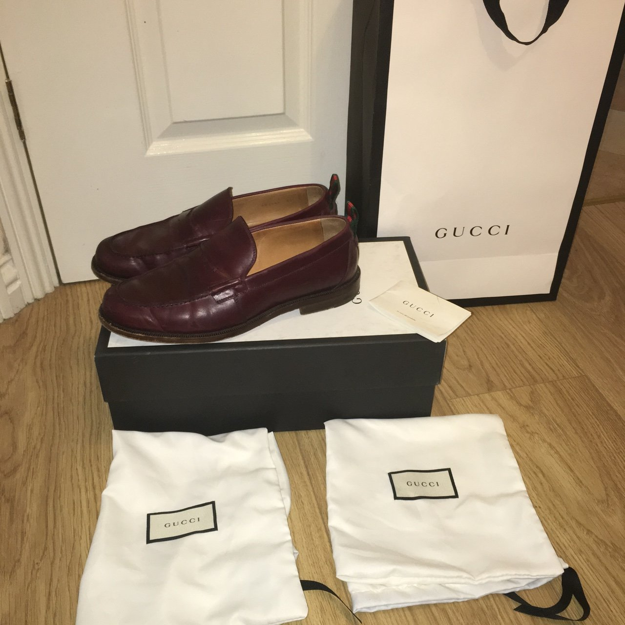e7abf038606 GUCCI Tobias wine penny loafer with gucci stripe on the size - Depop