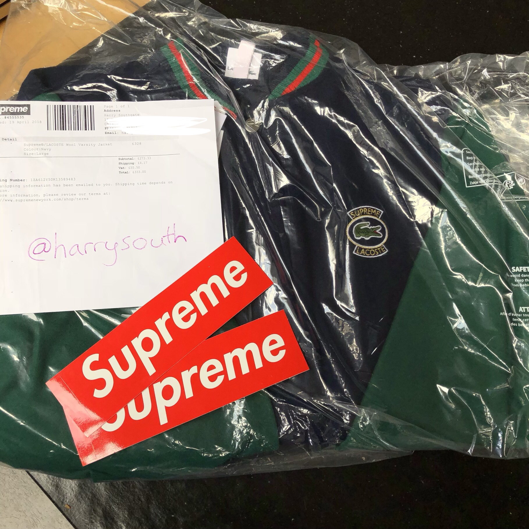Supreme X Lacoste Varsity Jacket Green And Blue Gucci Depop