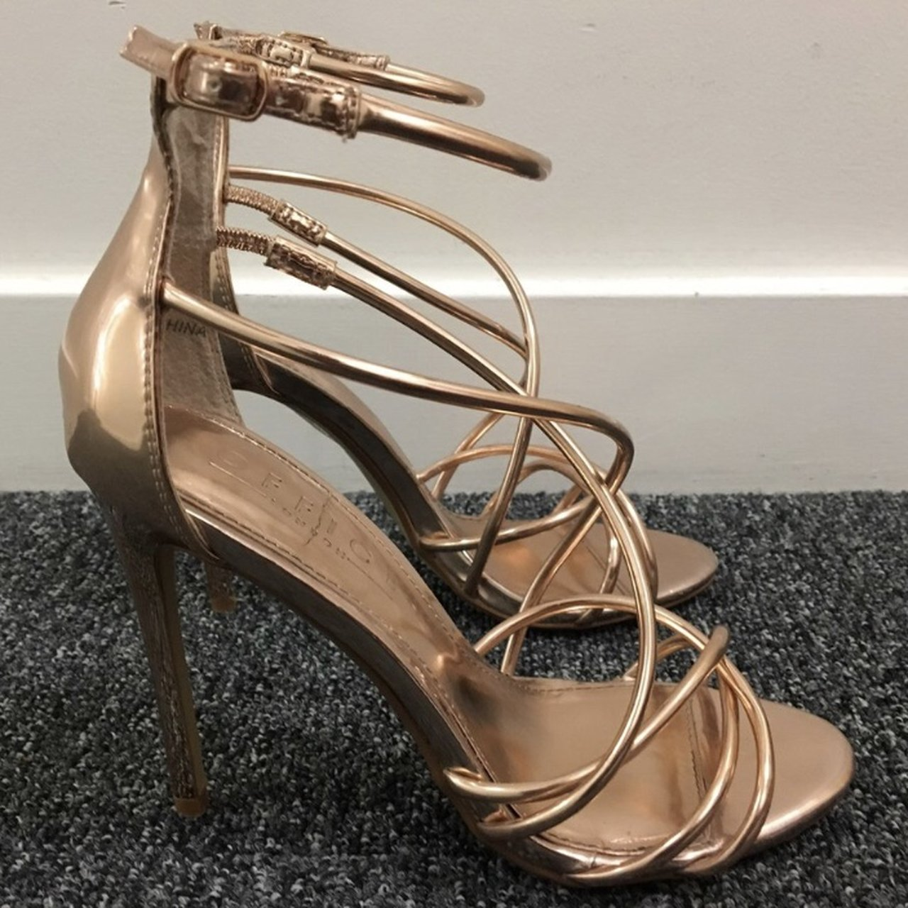 555003cd5d22 Office rose gold strappy heels. Size 4. Worn once for a of - Depop