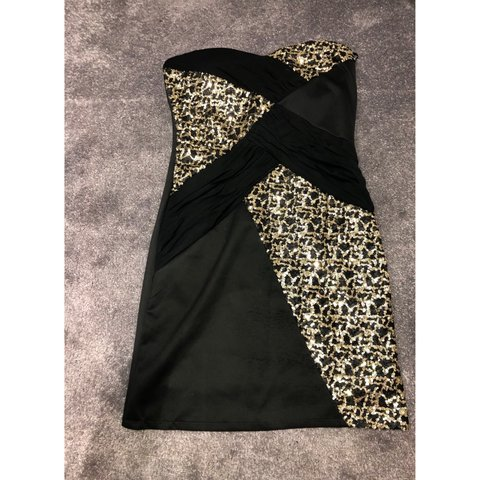 6145e48be23c Black and gold sequin dress from boohoo size UK 14. Worn but - Depop