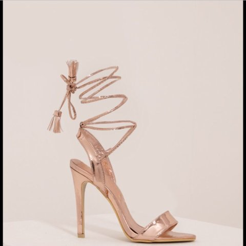 c59865819348 Pretty little thing rose gold tie up lace up heels. Size 5 a - Depop