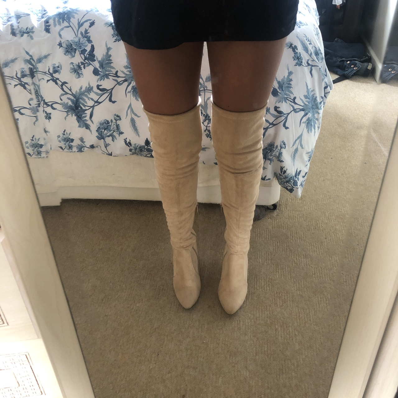 Beige over knee tie boots Worn once Overknee boots Depop
