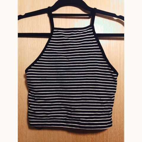 bee4ce2d29b Striped high neck grunge black white strappy 90s vintage top - Depop