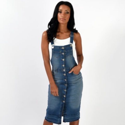b80265eb69d4d @soveryyouboutique. 3 years ago. Broadstairs, Kent, UK. Denim dungaree midi  dress ...