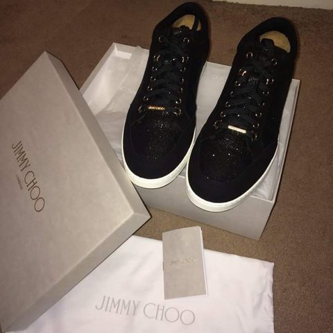 82c062e3a56b Jimmy Choo Black Fine Glitter and Suede Sneakers With Box 7 - Depop