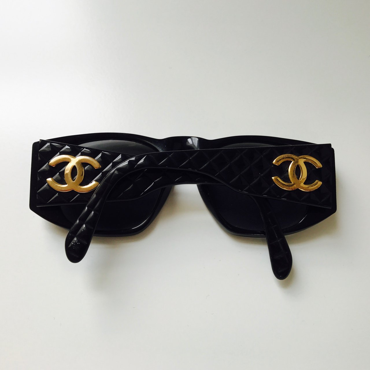 5ae7854531 Vintage chanel sunglasses quilted sides with chanel logo in depop jpg  1280x1280 Vintage chanel sunglasses