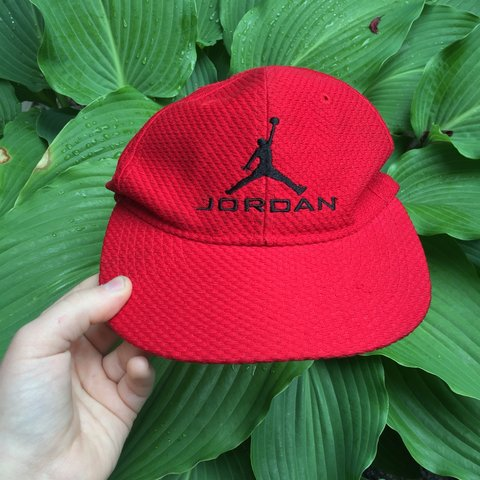 d5fbfd543486e9 Red Jordan hat Velcro strap! Has a worn condition but still - Depop