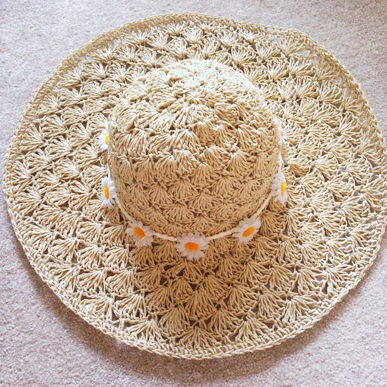 Vintage sunhat with daisies 🌸 99895fd112f8
