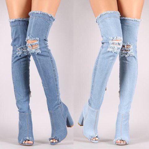 ad03a81b6 @dazzlingboutiques. 2 years ago. Los Angeles, CA, USA. Distressed Denim Over  The Knee Boots