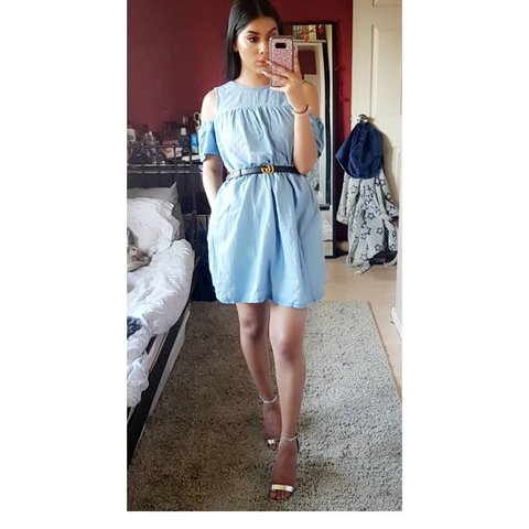 fab56e97d49c Zara light denim playsuit size XS. Looks like a dress but on - Depop