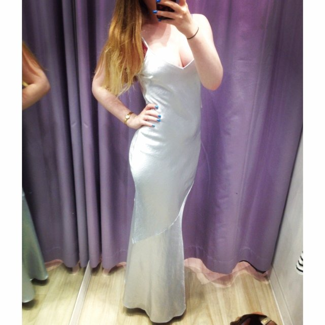 Selling My Beautiful Topshop Satin Silver Strappy Maxi Dress Depop