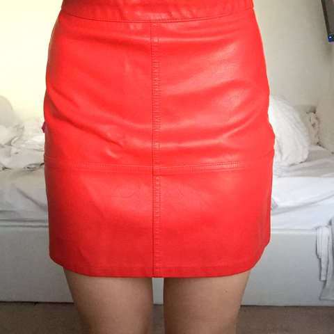 e70e77bc56 @ggggrace. 8 months ago. Wrexham, United Kingdom. Petite Red Leather Skirt  in size 6 from New Look ...