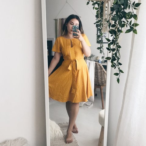 1d24bcec21b Joanie Clothing Celia Yellow Polka Dot Midi Tea Dress Size - Depop