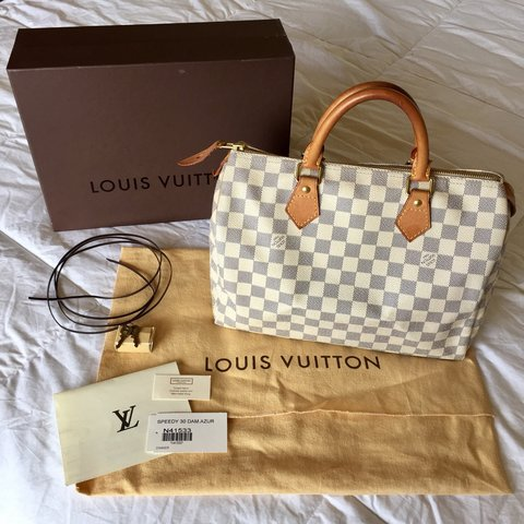 94abf66abf67 This is an authentic pre-loved LOUIS VUITTON Speedy 30 Azur - Depop