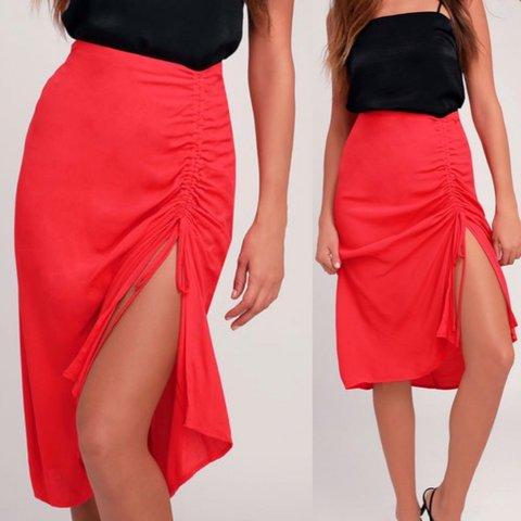 7df82bc46 Red ruched midi skirt. Like new no flaws. Tencel rayon Lined - Depop