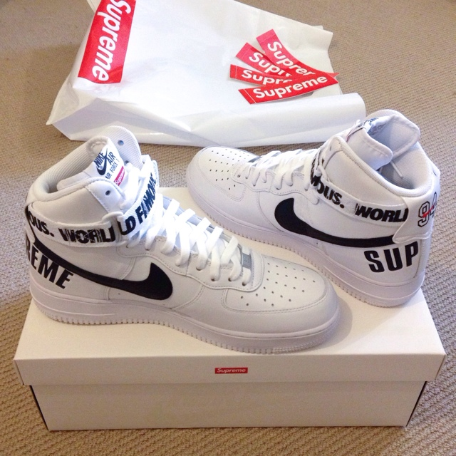 Supreme x Nike Air Force 1 white uk10 BRAND NEW Depop