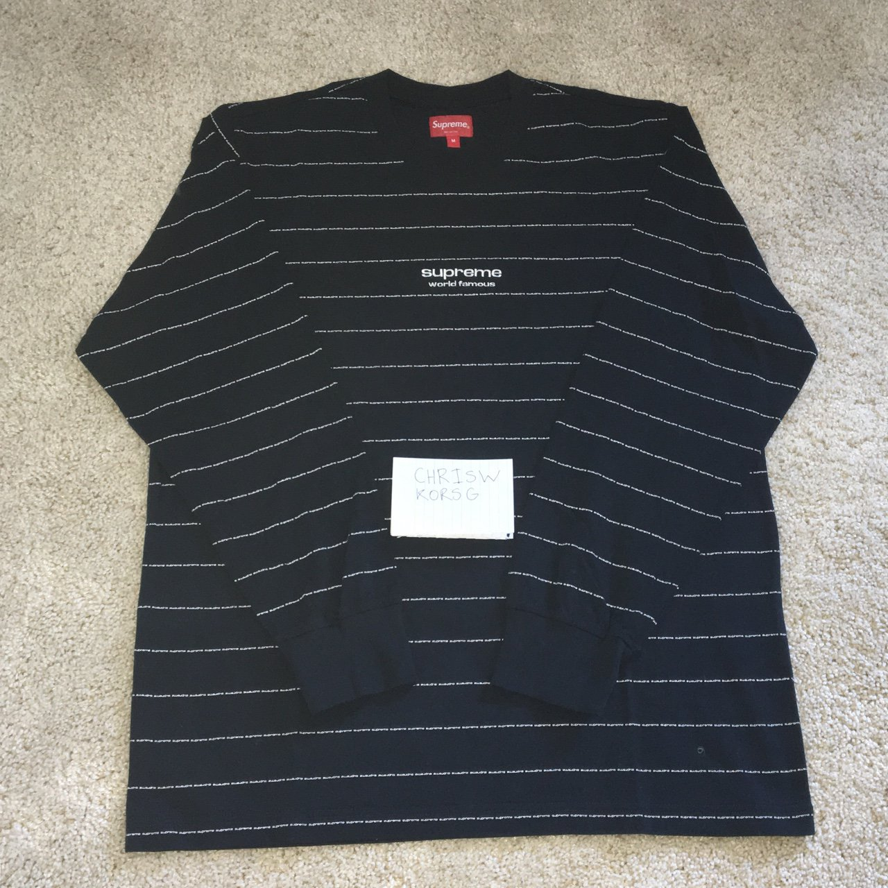 d834340ac3fc WTS/WTT! Supreme Navy Repeat Striped Long Sleeve, bought so - Depop