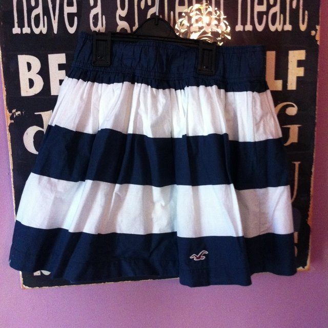 c0099b1457 Hollister blue and white striped skirt . Size xs. check out - Depop
