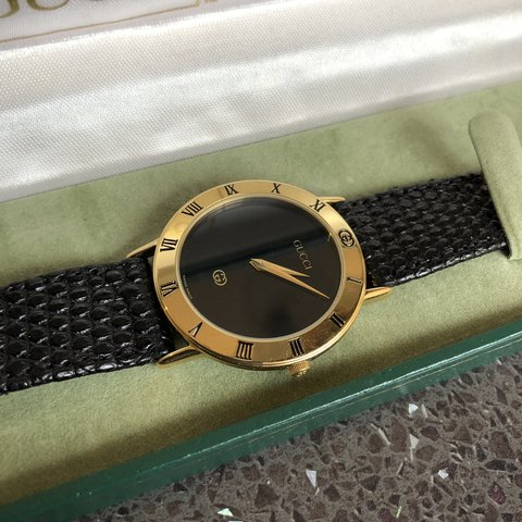 bb5c3184389 Vintage Gucci 3000M men s gold plated watch with original GG - Depop