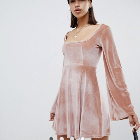 eff4fceed18 Pale pink velvet skater dress from ASOS! Brand new with and - Depop
