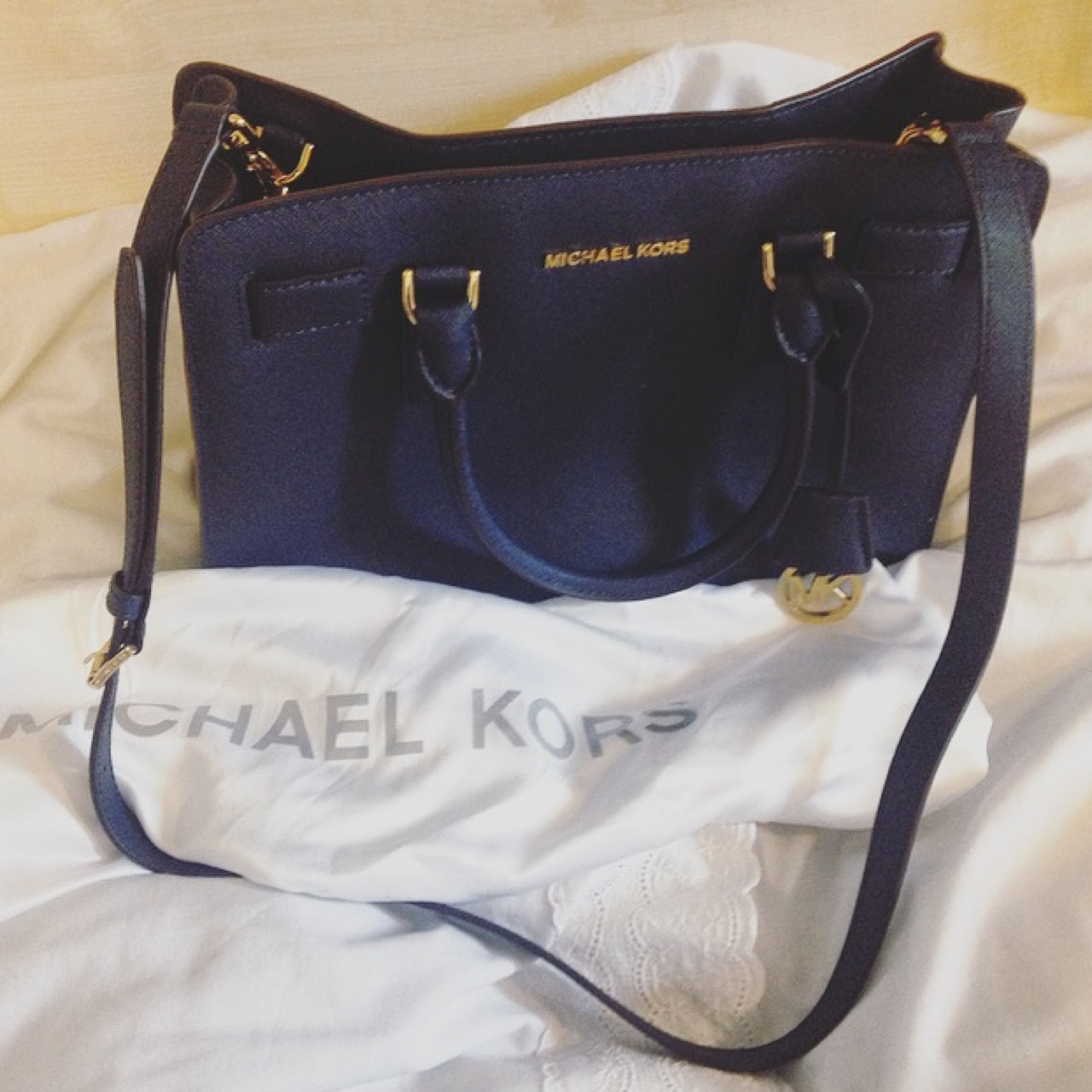 Brand new Michael kors Dillon medium saffiano navy Depop