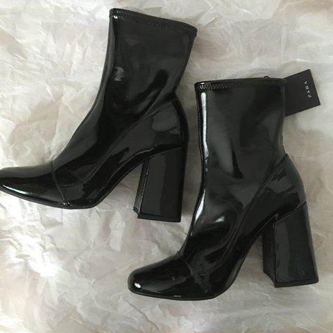 da60414d3895 RESERVED  Zara Patent Black Sock ankle boots with flared but - Depop