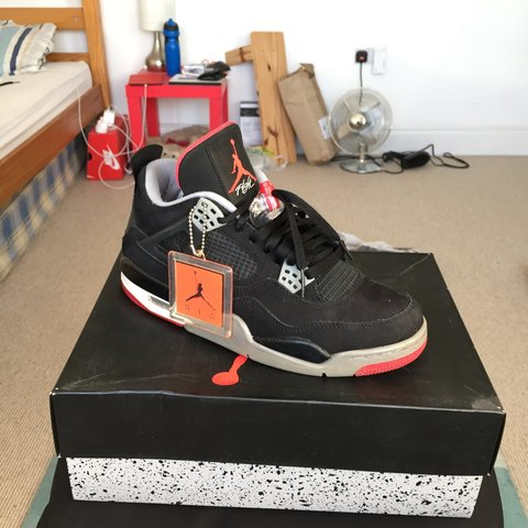 66b36c2e1543ca Jordan retro 4 black cement. 8 10 condition. With tags and - Depop