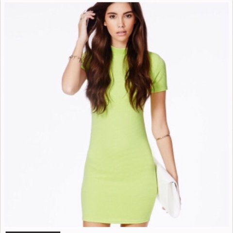 48df25751bc5 Lime missguided bodycon dress🍈| size 4 | brand new with on - Depop