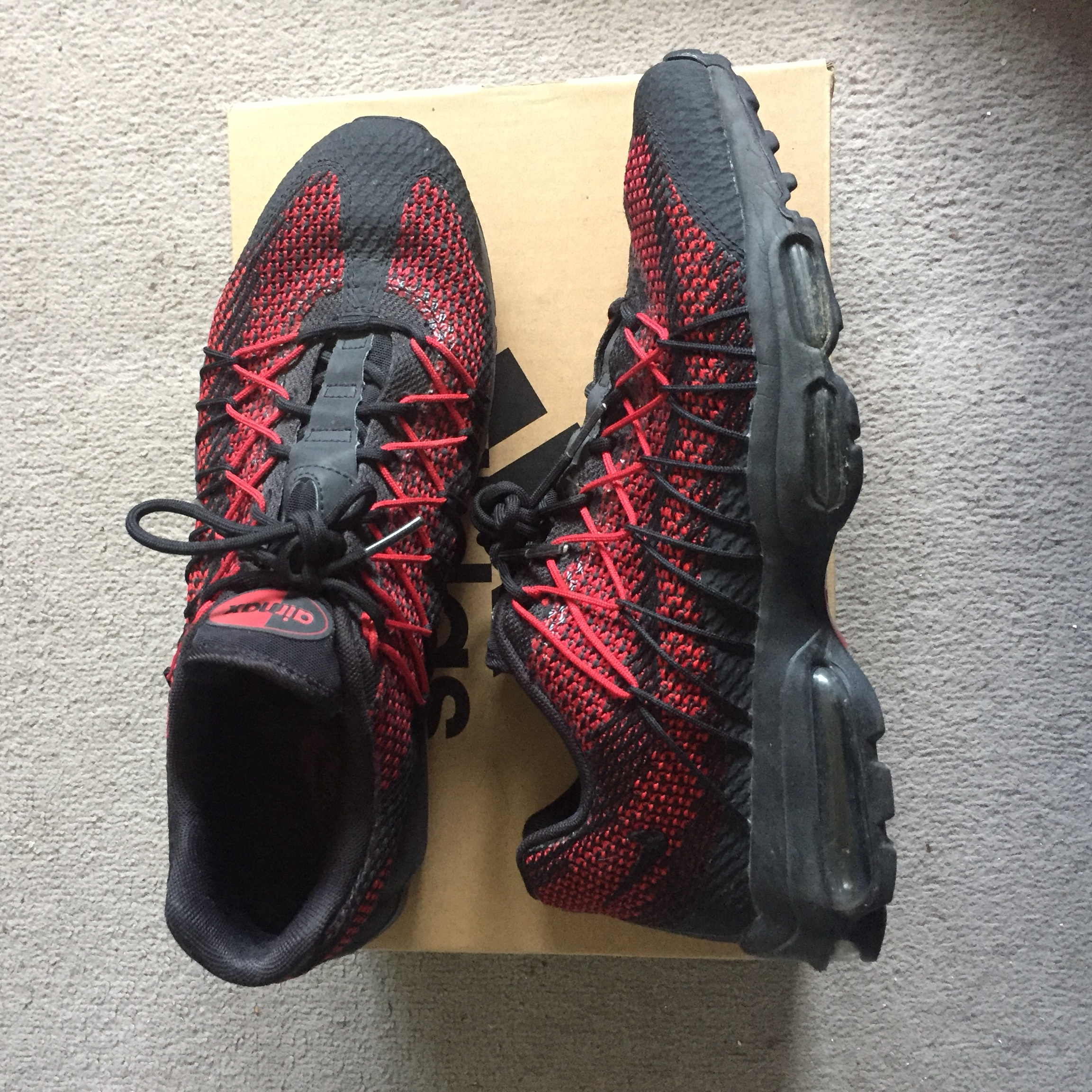 Nike air max 95 ultra jacquard black and red Size 9 Depop