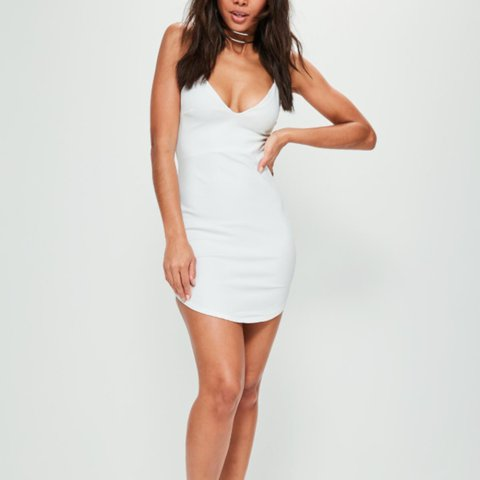 f66c45afed White strappy plunge bodycon dress. Missguided