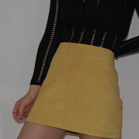 654d56ec3 @sadiefmay. last year. London, United Kingdom. Urban Outfitters yellow  suede skirt with satin lining. Only ...