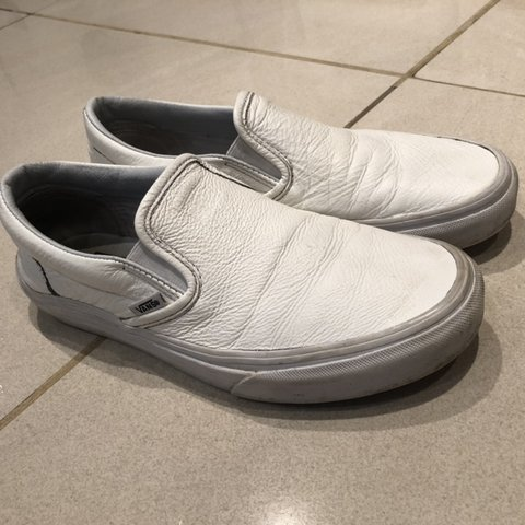 570a757777 Premium Leather White Classic slip-on VANS in size off VANS - Depop