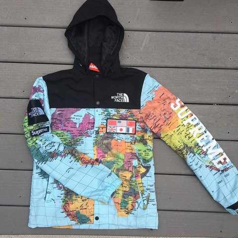 Supreme North Face Map FAKE supreme x north face map windbreaker. New with tags on.   Depop Supreme North Face Map