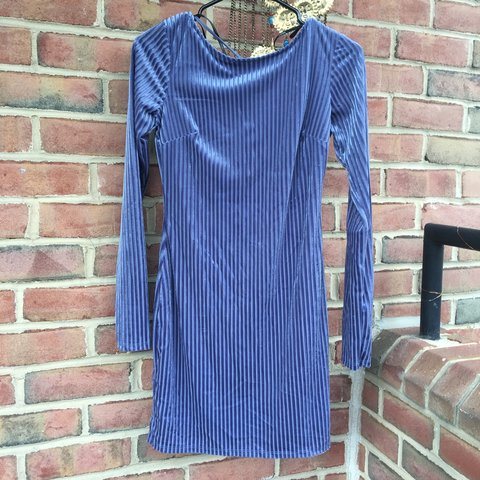 f7a69c2b17bd4 @midnightpixie. last month. Washington, United States. Velvet blue striped  tight dress from forever 21. Brand new ...