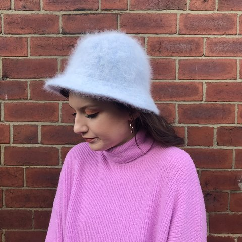 75500a8b63014 Super fluffy sky blue bucket hat - perfect condition - one - Depop